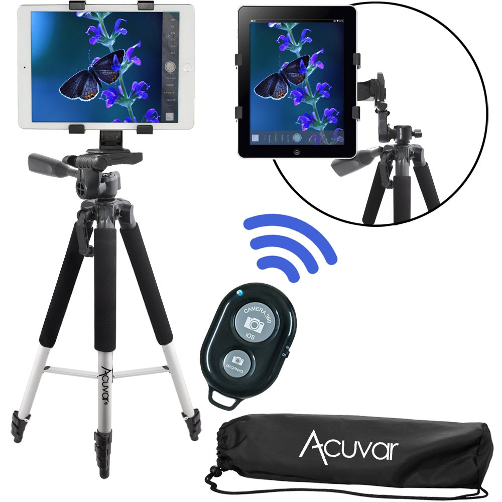 Acuvar 57'' inch Pro Series Tripod, Acuvar Tablet Mount, With Wireless Remote for Apple iPad, iPad Air, iPad Mini, Most Other Tablets