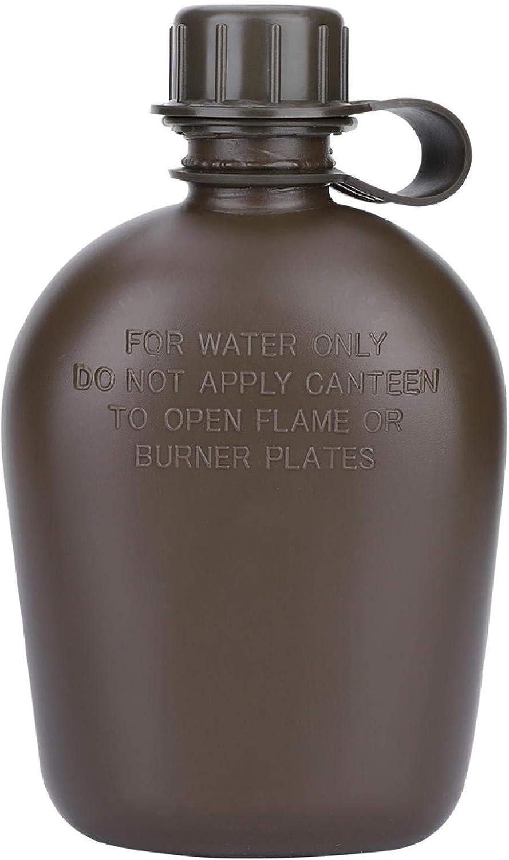 DAUERHAFT Bolsa de Camuflaje para Exteriores, Botella de Agua para hervidor Verde Militar, Botella de Agua para Senderismo, con Juego de Fiambrera de Aluminio, con Bolsa de Nailon de Camuflaje