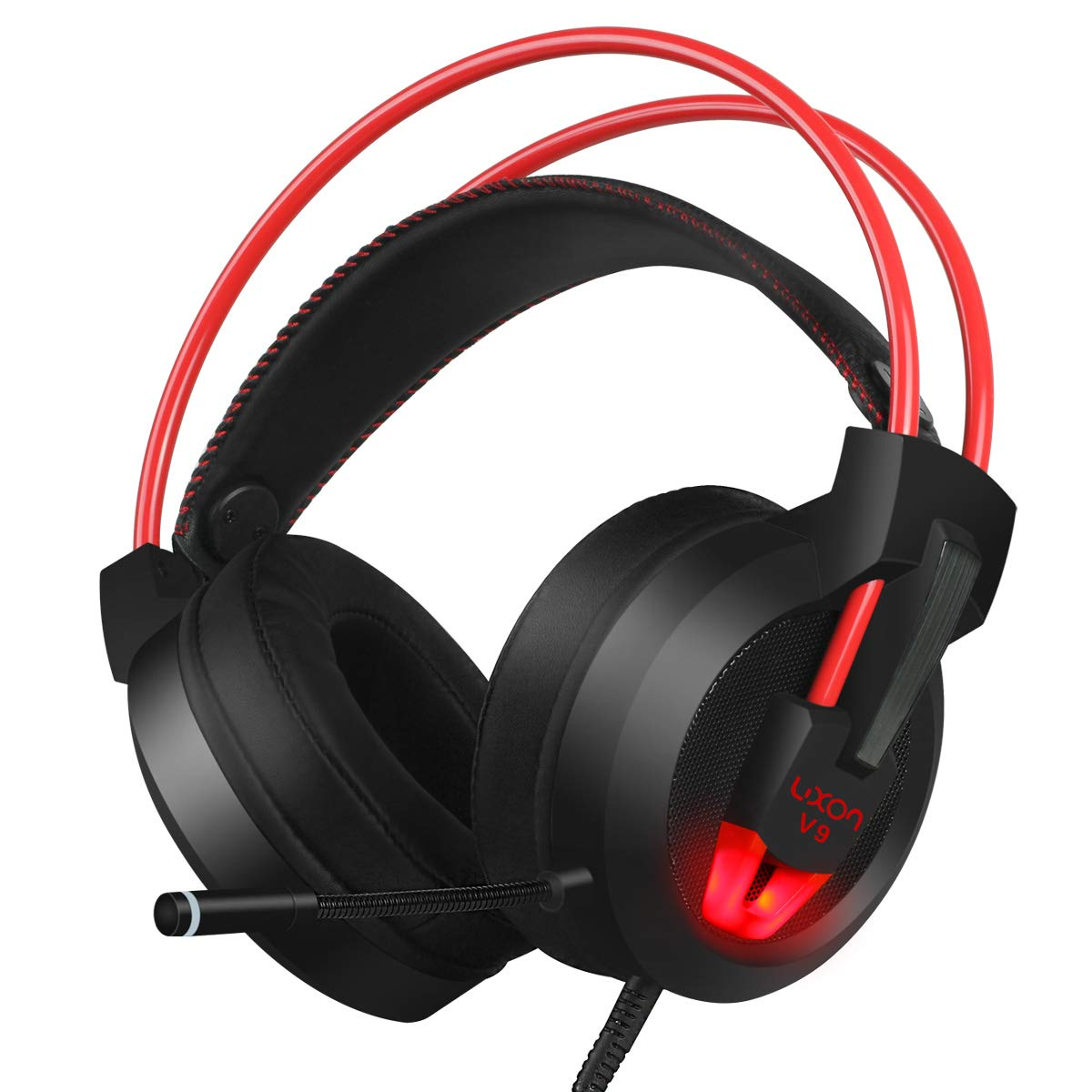 PC Gaming Headset with Mic Virtual 7.1 Surround Stereo Sound Headphone 50MM Loudhailer Gaming Headphones with LED Light Over Ear USB Headsets for PC / Mac / Laptop Gamer