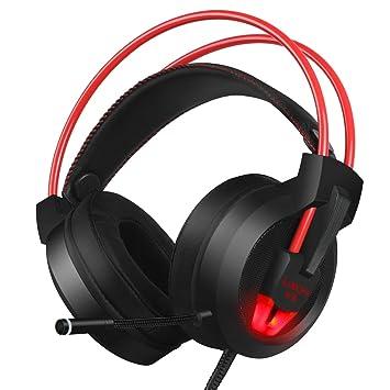 PC Gaming Headset con micrófono estéreo Surround virtual 7.1 sonido auriculares 50 mm Loudhailer Gaming auriculares sobre oreja Auriculares con luz LED USB ...