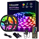 [65.6ft /20m Music Sync] RGB LED Strip Lights Ultra-Long Color Changing Light Strip with Remote, 600LEDs Bright LED Lights, D