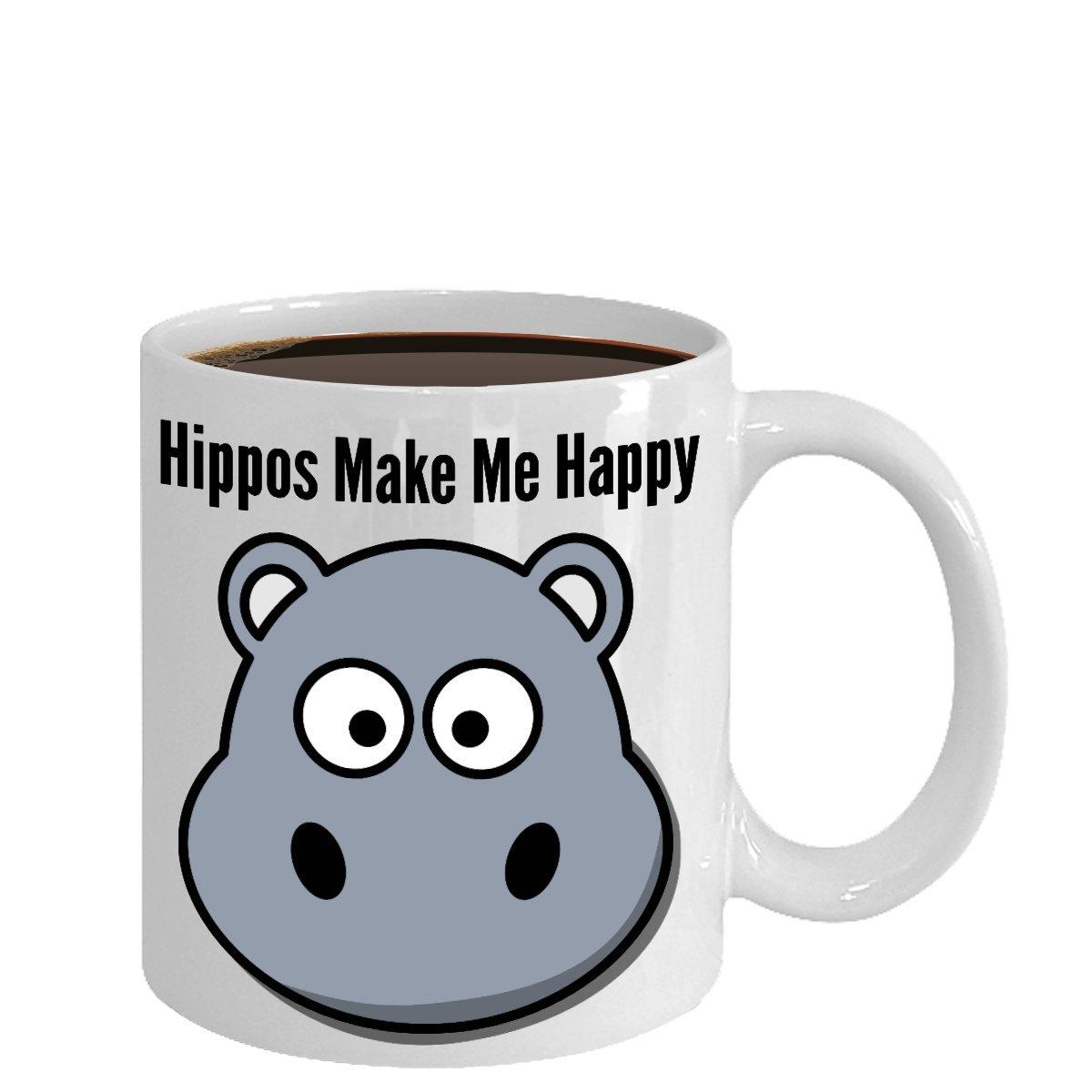 Amazon.com: Hippo Mug - Hippos Make Me Happy - Cute Hippo Gift for ...