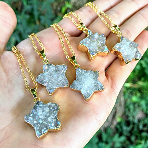Angel Aura Druzy Quartz Star Gold Dipped Necklace