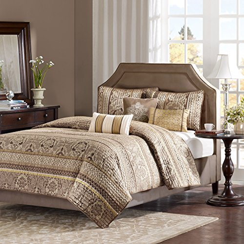 Madison Park Bellagio King Size Quilt Bedding Set - Brown, Jacquard Damask - 6 Piece Bedding Quilt Coverlets - Faux Silk Bed Quilts Quilted Coverlet