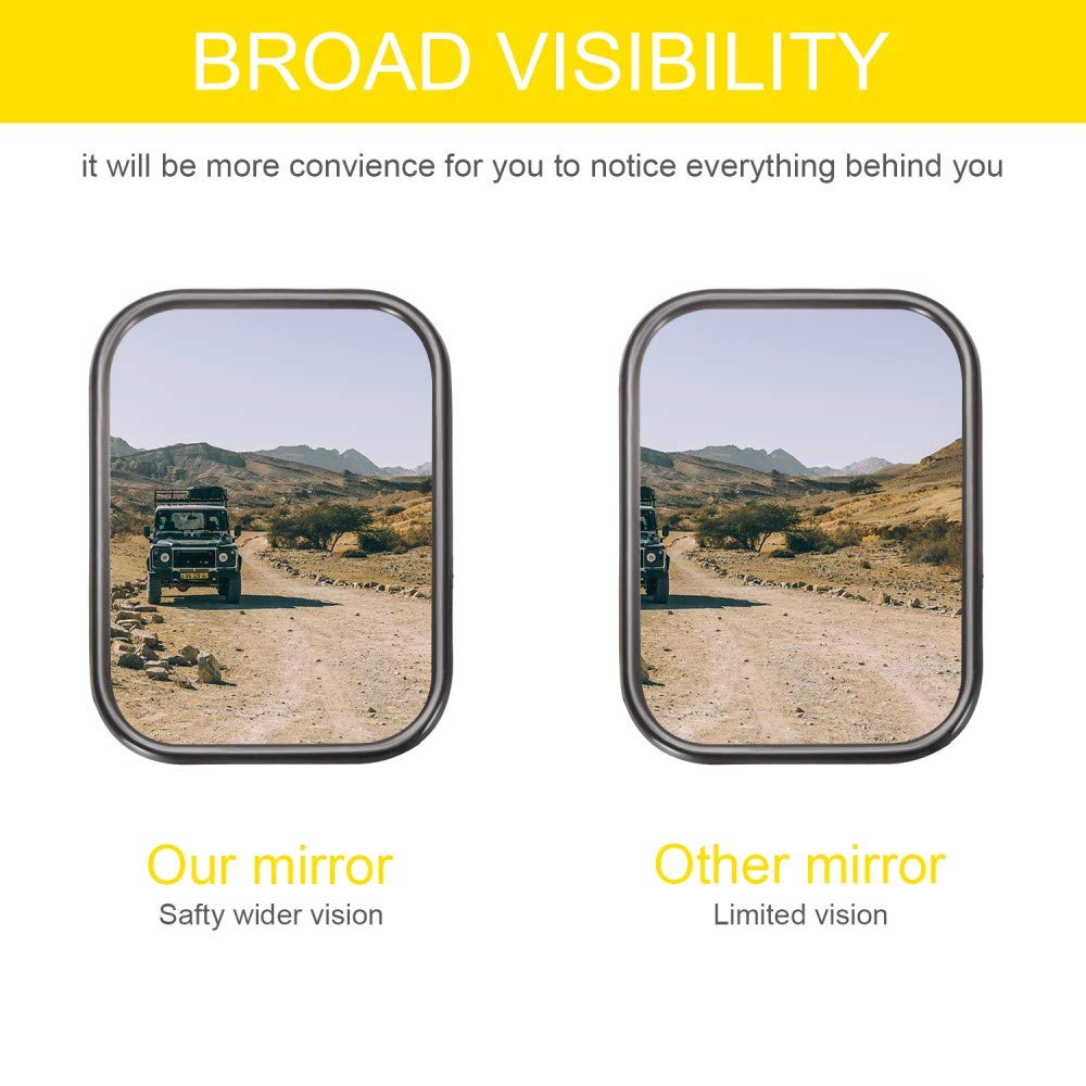A Pair of Square Adventure Side View Mirrors for Jeep Wrangler CJ YJ TJ JK JL /& Unlimited 2019 Upgraded Quicker Install Door Hinge Mirror for Safe Doors Off Driving CALBEAU Jeep Mirrors