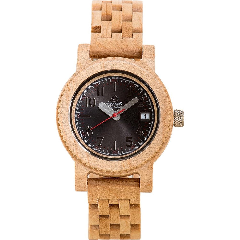 Gespannter Holz m5200 m Herren Holz Armband Band Schwarz Zifferblatt Runde Uhr