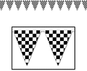 Beistle Checkered Outdoor Pennant Banner, 17 by 120-Feet