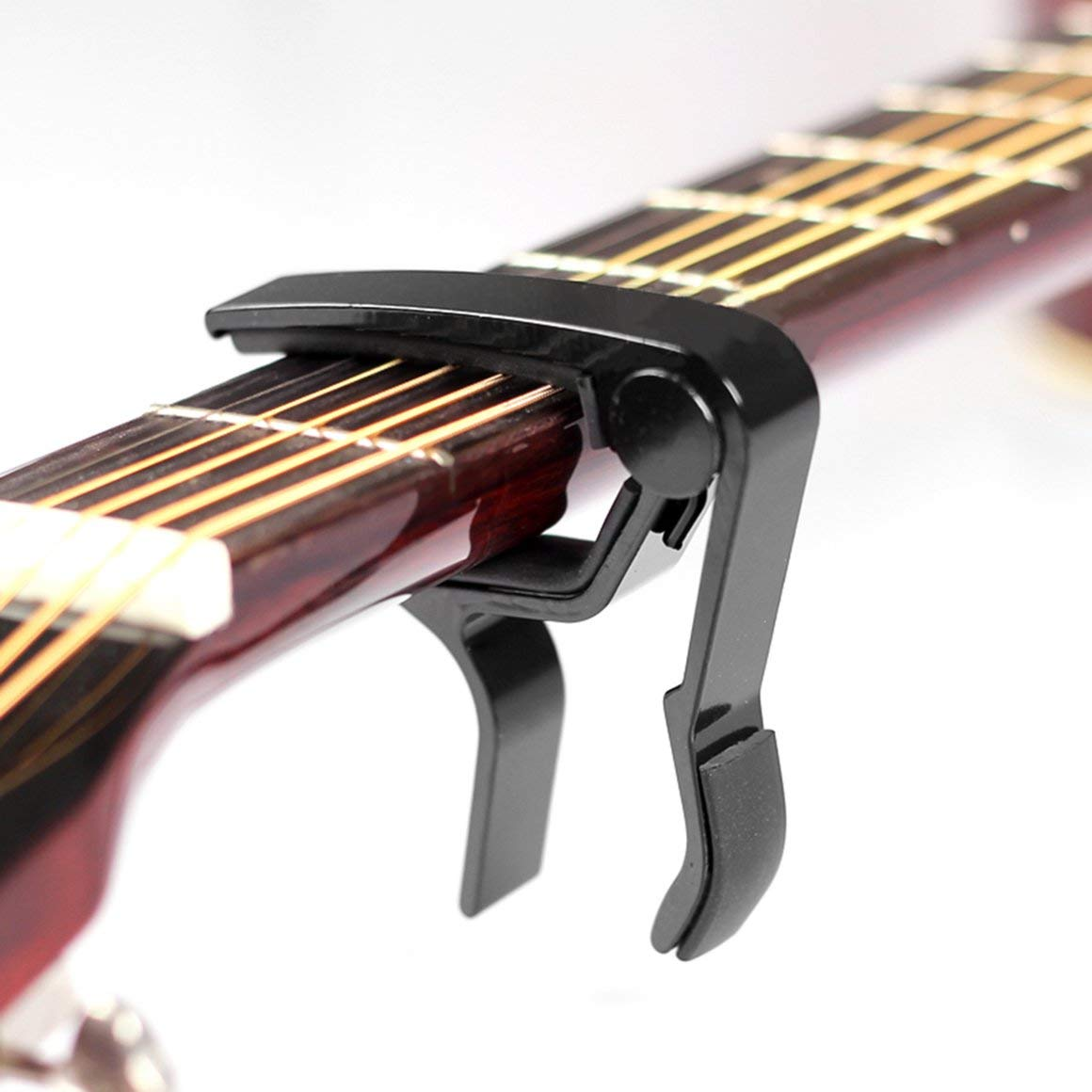 Funnyrunstore Chitarra Acustica elettrica in Lega di Alluminio Capo Basso Violino Ukulele Capo Trigger con Morsetto a Una Mano Materiale Metallo