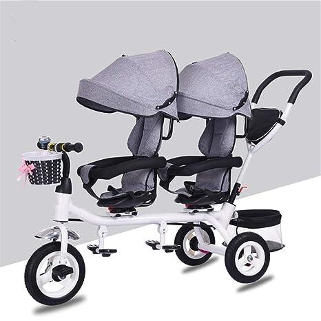 AERTYUIOG Carro De Bebé Bicicleta plegable/Triciclo para niños/Carro doble/Pedales plegables