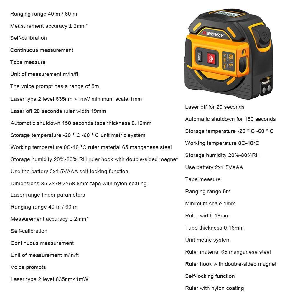 Class-Z Massband Laser Entfernungsmesser Digital Ma/ßband,2 In 1 Ma/ßband 5M Messger/ät LCD-Digitalanzeige Handheld Infrarot 60M 40M Elektronisches Lineal
