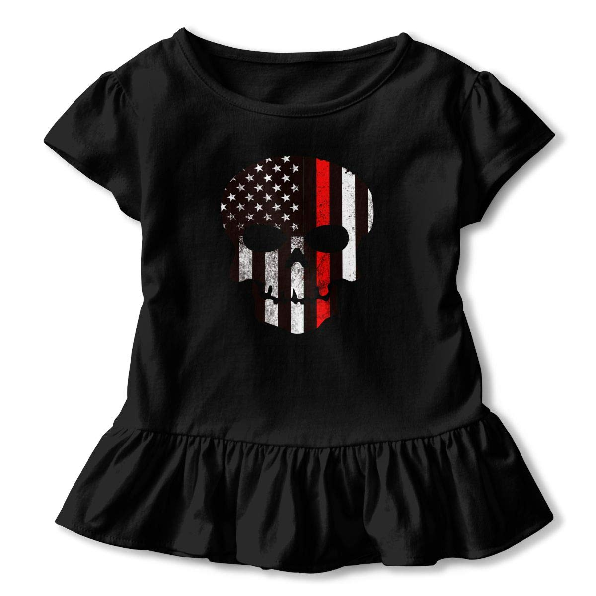 Thin Red Line Skull USA Flag Firefighter Baby Girls Summer Dress Outfits Ruffle Short T-Shirt Romper Dress,One-Piece Jumpsuit