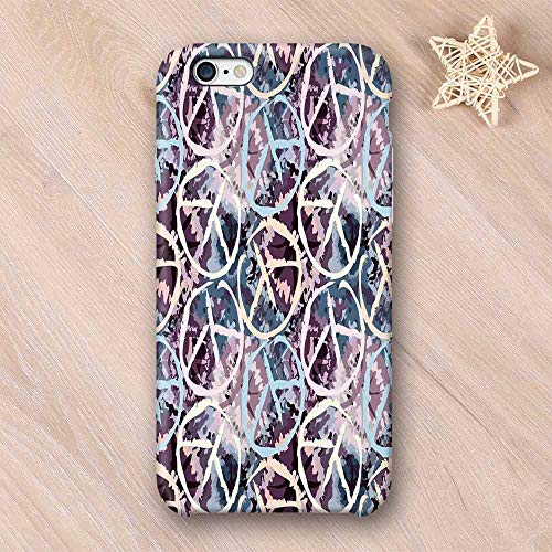 (Batik Decor Compatible with iPhone Case,Digital Pacific Symbol on Batik Backdrop with Blocked Out Color Splashes Art Design Compatible with iPhone X,iPhone 6/6s)