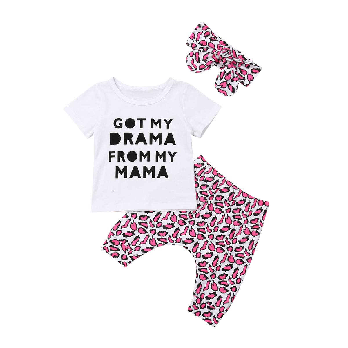 Toddler Baby Girl Outfits Set 3 Pieces Long Sleeve Letter T Shirt Long Trouser Headband Cotton Clothes Set for 0-24 Months