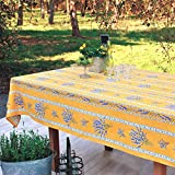 Stain Resistant Provence Coated Tablecloth Lavender in Gold - Rectangular or Oval - You Choose the size and the Shape - Indoor and Outdoor Use - Water and Stain Resistant