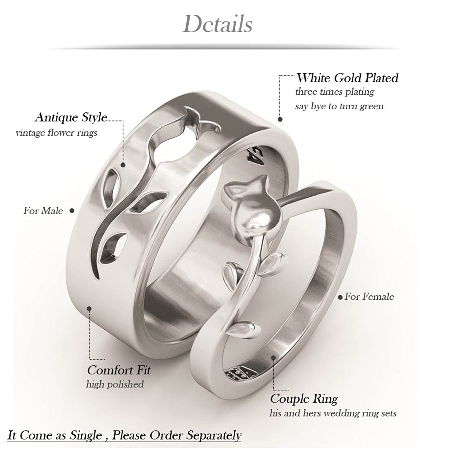 Amazon Wedding Band Sets EVBEA Vintage Flower Promise Rings