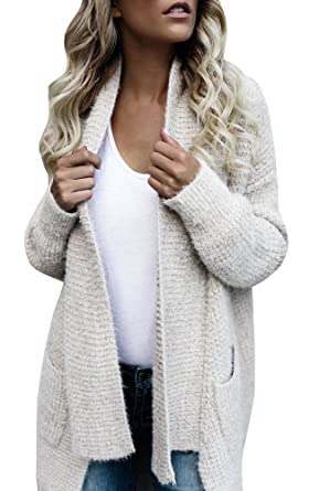 da53882f24 Fashare Womens Open Front Chunky Cable Knit Cardigan Sweaters Coat with  Pockets