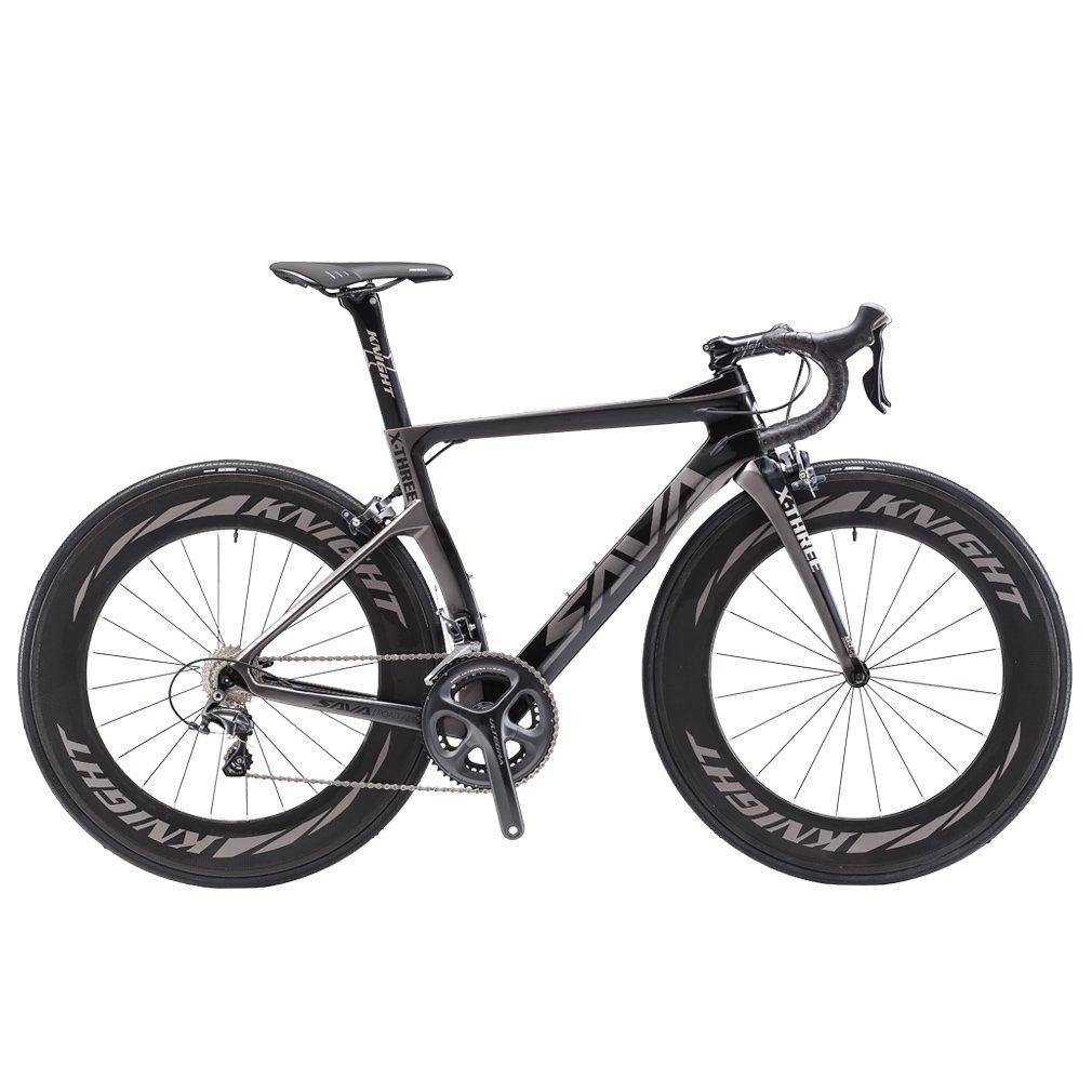 SAVADECK Phantom 2.0 700C Bicicleta de Carretera de Fibra de Carbono Shimano Ultegra R8000 22-Velocidad Sistema Michelin 25C Neumáticos Fi'zi: k Cojín