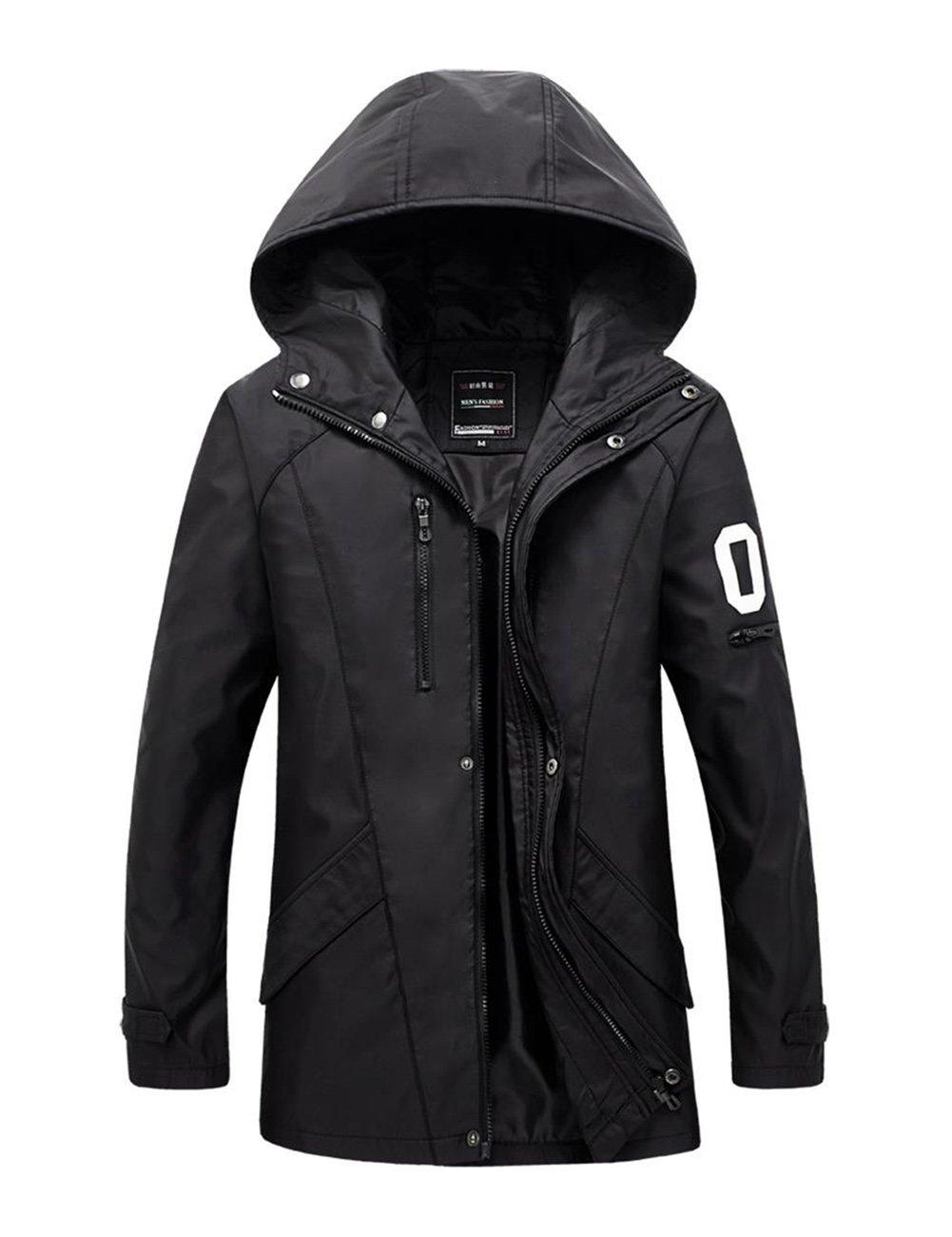 LanLan Men's Hooded Windbreaker Jackets British Style Zipper Closure Jacket Black 4XL
