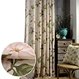 2 Panel Flower Curtains Linen Cotton Drapes - Anady Pink Floral Green Leaf Decro Curtains Drapes for Living Room Grommet 100 inch Long(Customized Available)