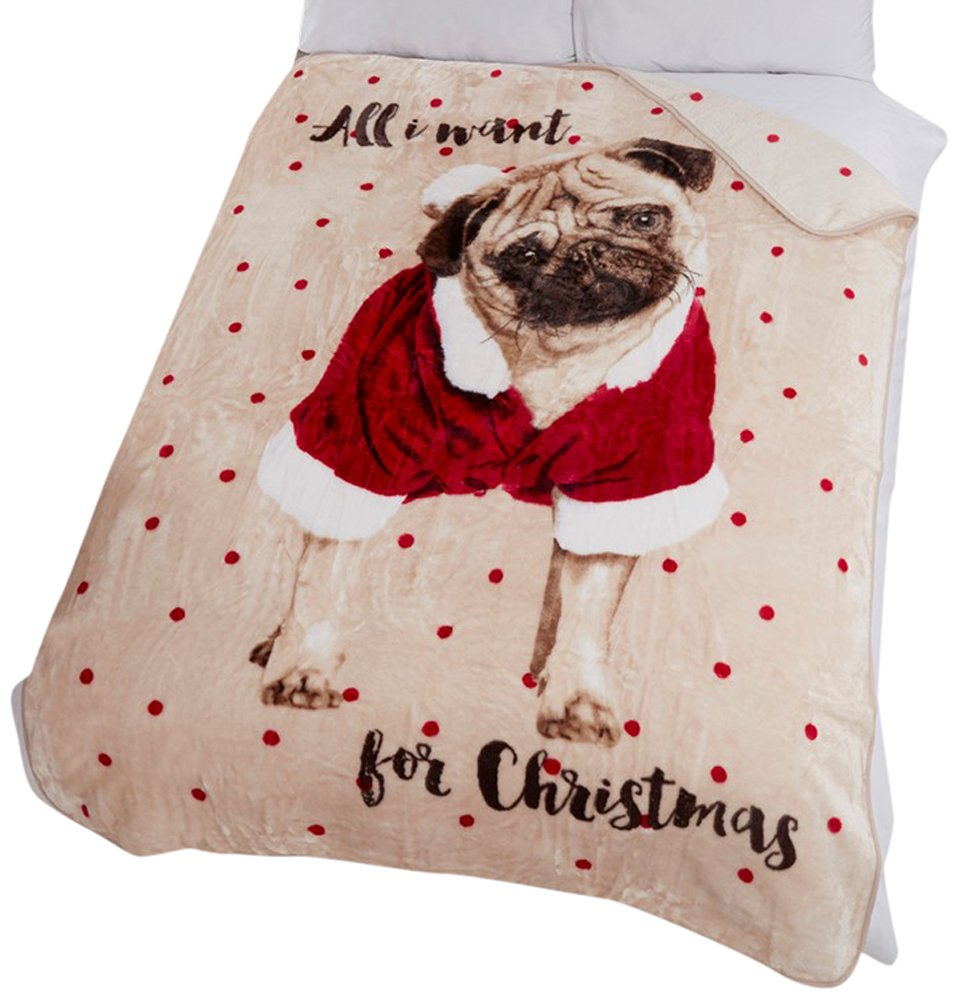 Dreamscene Grand Couvre-lit Imprimé Animal Fausse Fourrure Carlin «All I Want for Christmas» 150x 200cm Crème MTHAIWP99