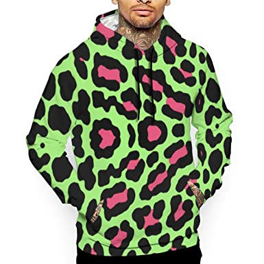 5e71caed772b Huangwei Men's Long Sleeve Hooded Sweatshirt Green Leopard Print Pullover  Hoodies for Men