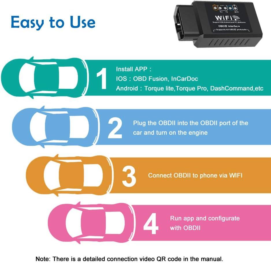 Compatibile con iOS Symbian /& Windows Dispositivi BAOHUI OBD 2 WiFi OBD2 Auto Diagnostica ELM327 OBDII Adattatore OBD2 Scanner con Oltre 3000 Code Banca Dati Android Adatto per Maggior Parte Auto