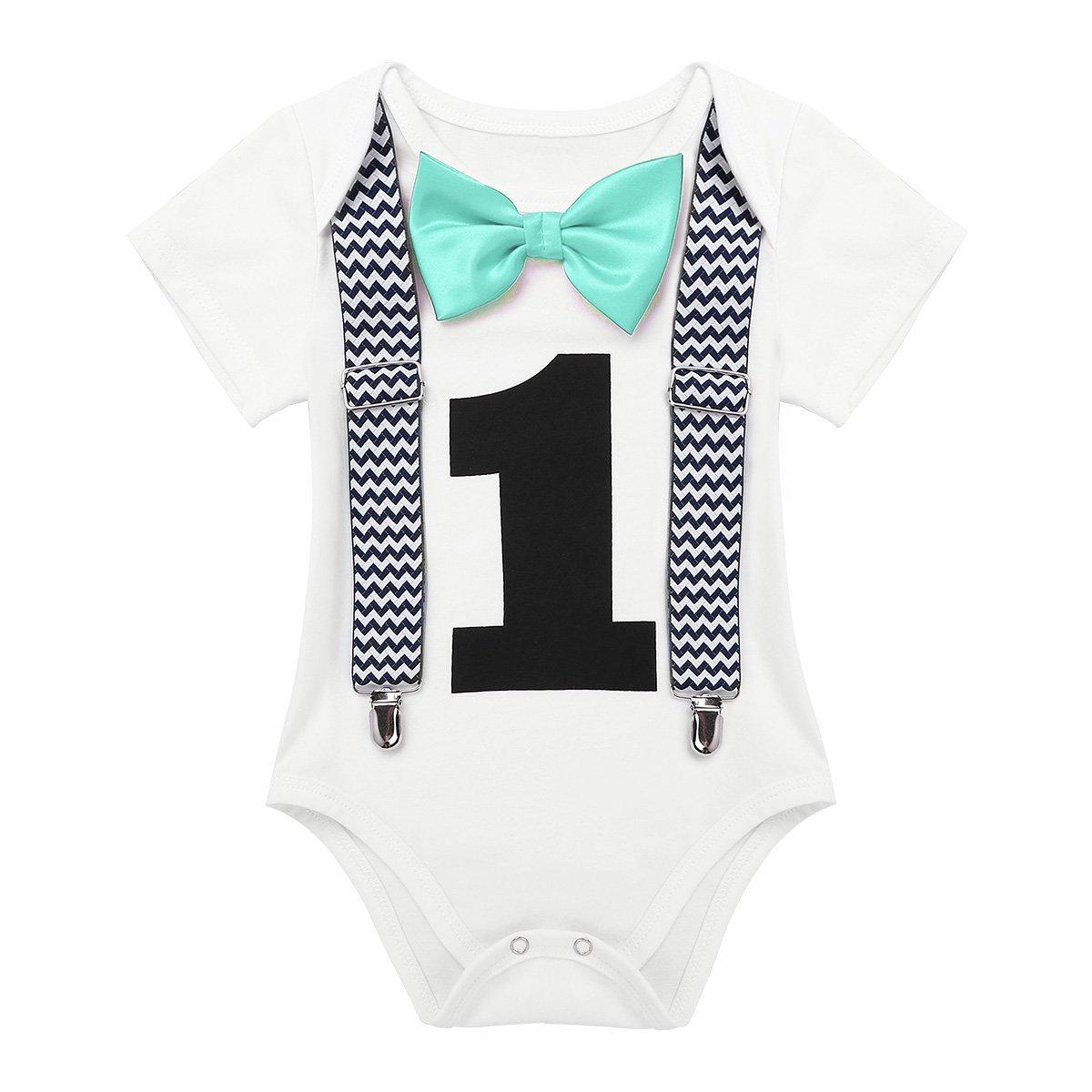 YiZYiF Babykleidung Baby Jungen Spielanzug Top Hosen 1. Geburtstag/Weihnachten Body Overall mit Fliege für 12-24 Monate