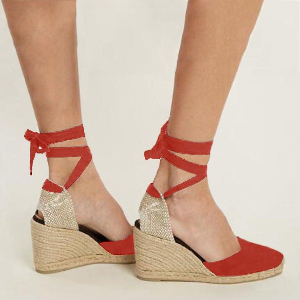 Minetom Femme Mode Sandale Espadrille Lani/ère Sandals Talon Compens/é Plateforme /Ét/é Casual Romaines Sandals Doux
