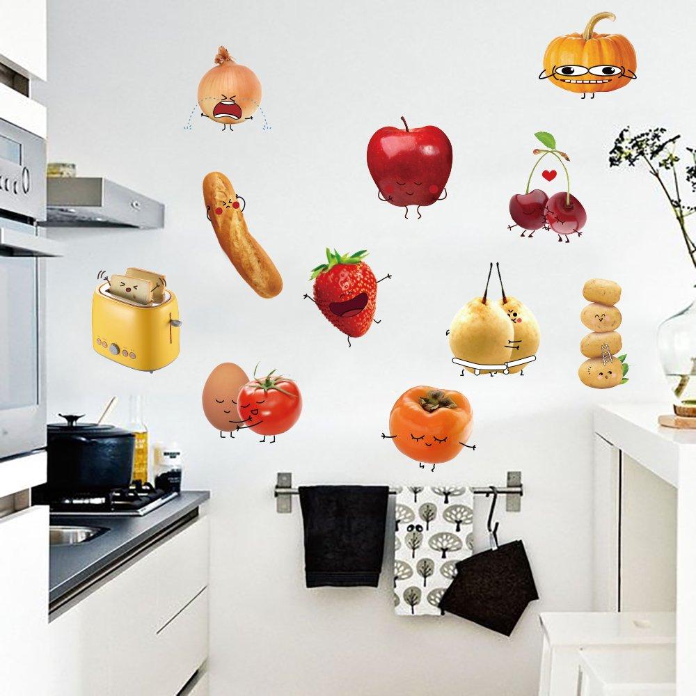 decalmile Wandtattoo K/üche Kreativ Gem/üse Emoji-Emoticons Wandsticker DIY Entfernbarer Wandaufkleber Wanddekoration f/ür K/üche Babyzimmer Schlafzimmer Fenster