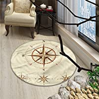 Compass small round rug Carpet Four Different Compasses in Retro Colors Discovery Equipment Where Nautical MarineOriental Floor and Carpets Beige Tan