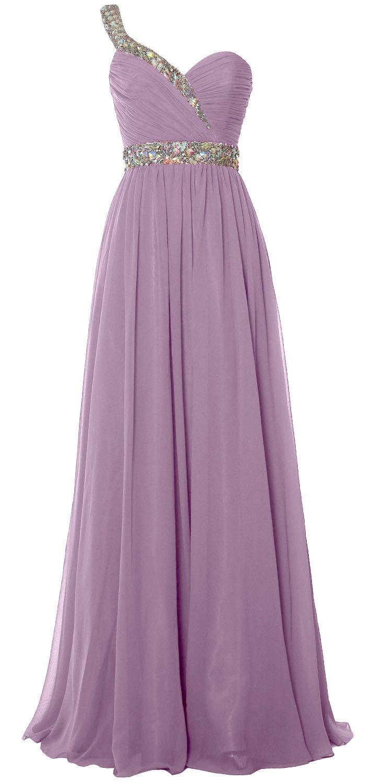 MACloth Elegant One Shoulder Long Prom Dress 2018 Chiffon Evening Formal Gown (22w, Wisteria)