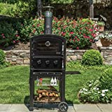Fornetto Wood Fired Outdoor Pizza Oven On Cart - Black