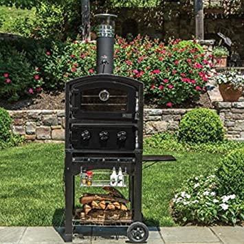 fornetto wood fired outdoor pizza oven on cart black