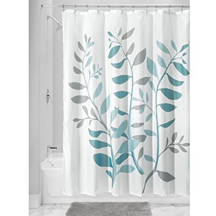 InterDesign Laurel Shower Curtain Standard Gray And Blue