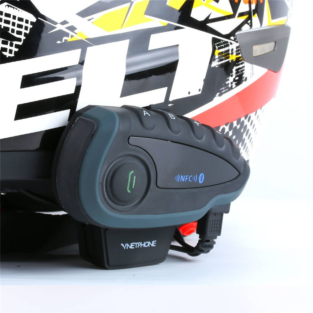 EJEAS V8 Bluetooth Intercom Motorcycle Helmet Headset with Remote Control Handle FM Radio Among for 5 Riders Full Duplex 1200M Communication