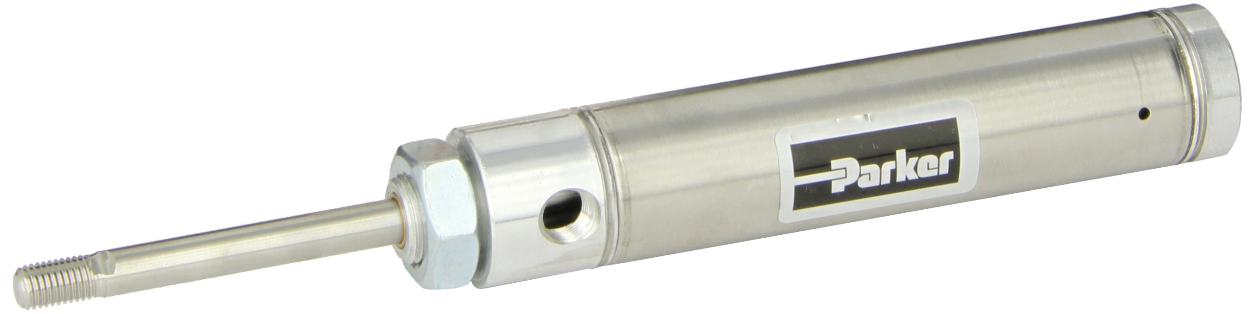 Parker 1.06RSR02.0 Stainless Steel Air Cylinder, Round Body, Single Acting, Spring Extend, Nose Mount, Non-cushioned, 1-1/16 inches Bore, 2 inches Stroke, 5/16 inches Rod OD, 1/8'' NPT Port