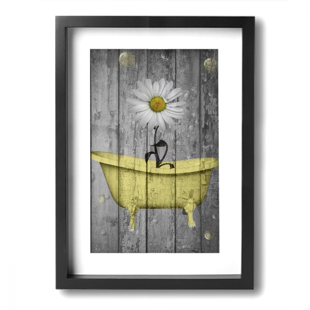 amazing Bath Wall Art Part - 16: Amazon.com: Ale-art Rustic Picture Frame Bathroom Wall Art Daisy Flower  Bubbles Yellow Gray Vintage Rustic Bath Wall Art Ready to Hang for Wall  Decor: ...