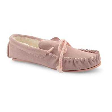 LADIES WINTER MOCCASIN LEATHER UPPER SUEDE SLIPPER BEIGE & PINK SIZE UK 3-8 NEW