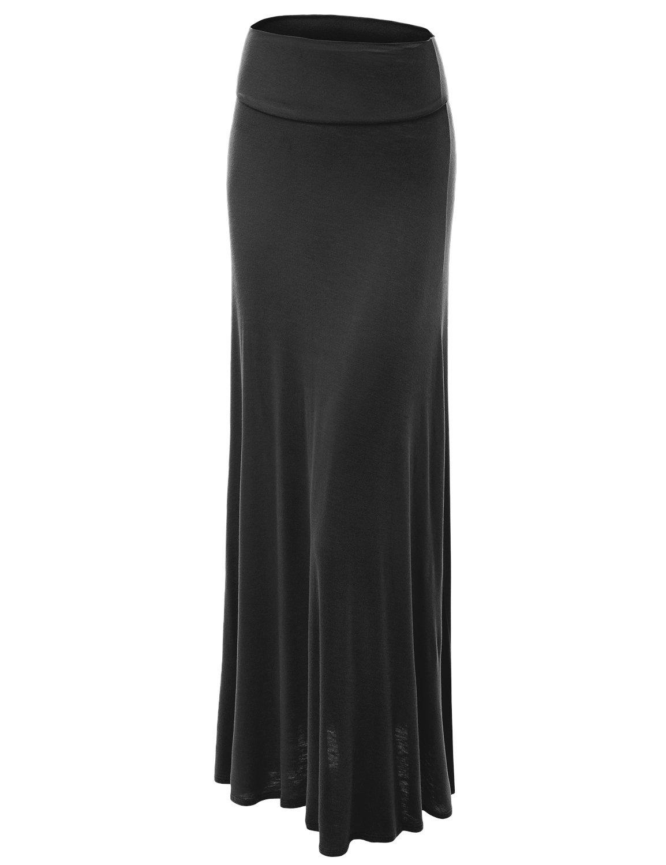 WB670 Womens Fold-Over Maxi Skirt XXL BLACK