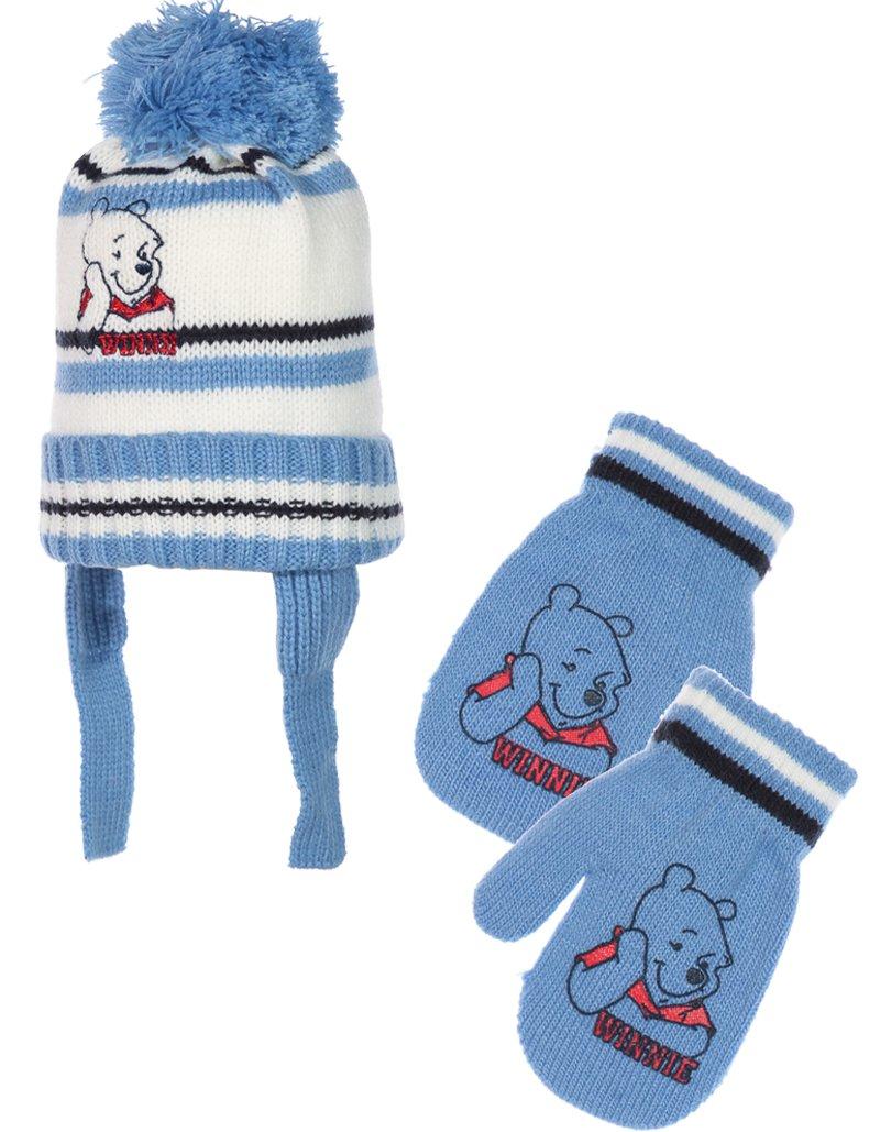 Bonnet péruvien et moufles bébé garçon Winnie l'ourson Bleu T42 (0/3mois) Winnie l' ourson
