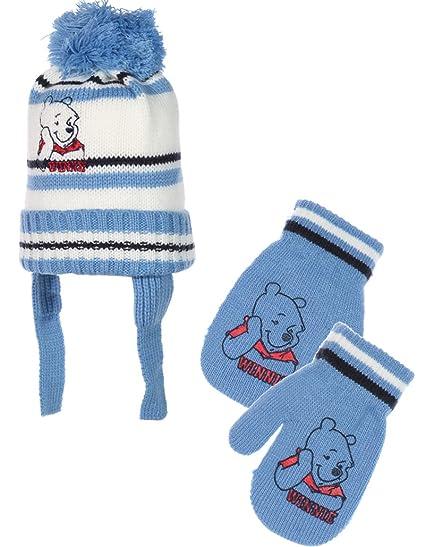 Bonnet péruvien et moufles bébé garçon Winnie l ourson Bleu T42 (0 3mois 06fb514dc8e