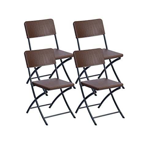 Resol Easy Rattan - Set de 4 sillas plegables, plástico, 54 ...
