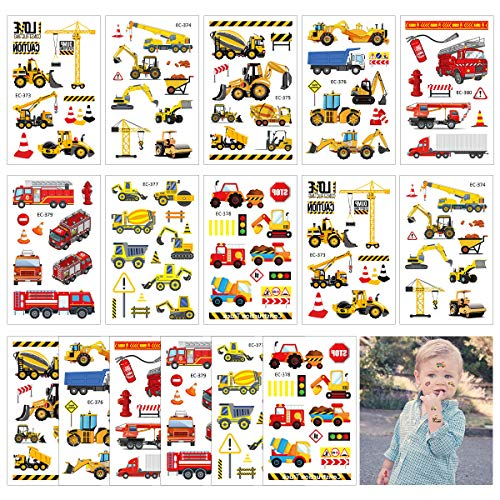 CIEOVO Fun Constructions Excavator Fire Truck Temporary Tattoos Small Fake Tattoo Stickers Party Favors for Kids Construction Vehicle Theme Birthday Party Supplies Children's Day Tattoos Stickers (16 -