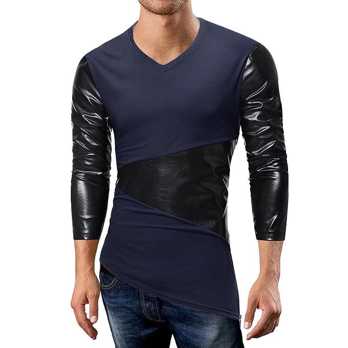 OHQ_Camisa Hombre Blusa OtoñO Moda 2018 Casual Patchwork De Cuero Cremallera Camiseta Manga Larga Top Blusa