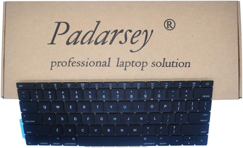 """Padarsey Replacement US Layout Keyboard Compatible for MacBook Pro 13"""" inch A1708 Without touchpad bar MacBookPro14,1 MacBookPro13,1 A1708 Late 2016 mid 2017 (NOT fit A1707 A1706 Series)"""