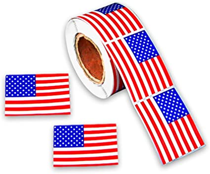 500 pcs DOUBLE WOVEN CLOTHING LABELS UNITED SATES AMERICAN FLAG RED WHITE /& BLUE