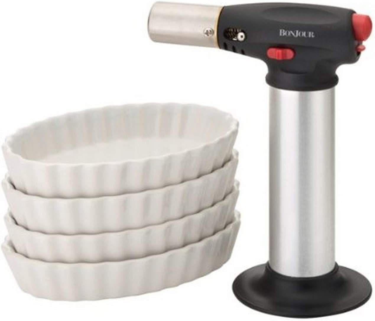 BonJour Chef's Tools Butane Crème Brûlée Torch and Porcelain Ramekin Set, 5-Piece, Stainless Steel, One Size - 53489