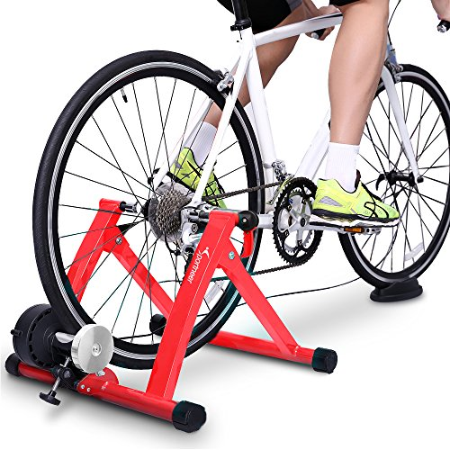 (Sportneer Bike Trainer Stand Steel Bicycle Exercise Magnetic Stand with Noise Reduction Wheel, Red)