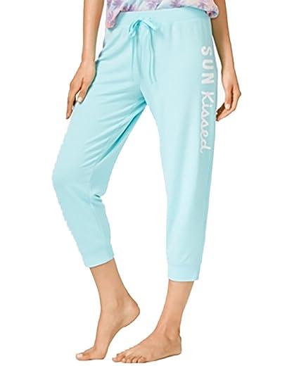 ca168faf36985 Jenni by Jennifer Moore Cropped Jogger Pajama Pants Large Blue at ...