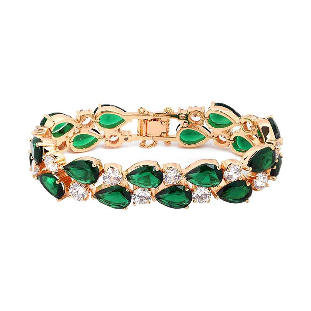 Eastlion Retro Zircon Bracelet Fashion Women's Bracelet,S,17CM,Green